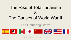 Unit 4 The Rise of Totalitarianism and the Causes of WWII