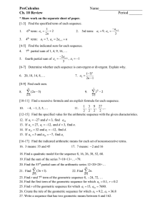 PreCalculus Assignment Sheet
