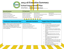 Continuous Improvement Goal AdvancED Standards Support from