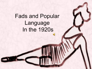Fads and Popular Language In the 1920s