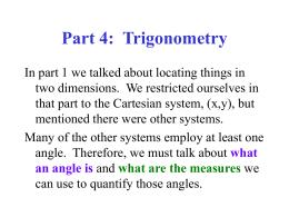 Part 4: Trigonometry - FacStaff Home Page for CBU