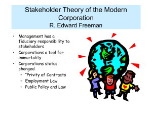 Stakeholder Theory of the Modern Corporation R. Edward Freeman
