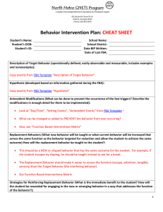 Behavior Intervention Plan: CHEAT SHEET