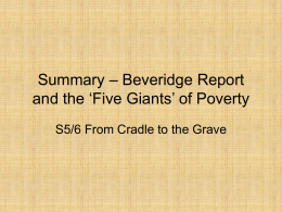 Summary – Beveridge Report and the 'Five Giants' of Poverty