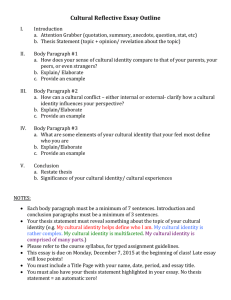 Cultural Reflective Essay Outline