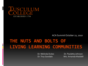 The Nuts and Bolts of Living Learning Communities