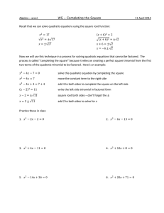 WS - Completing the Square