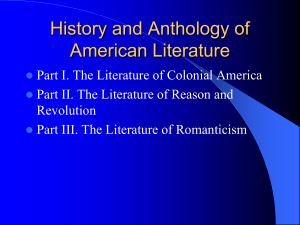 History and Anthology of American Literature - KSU - Home