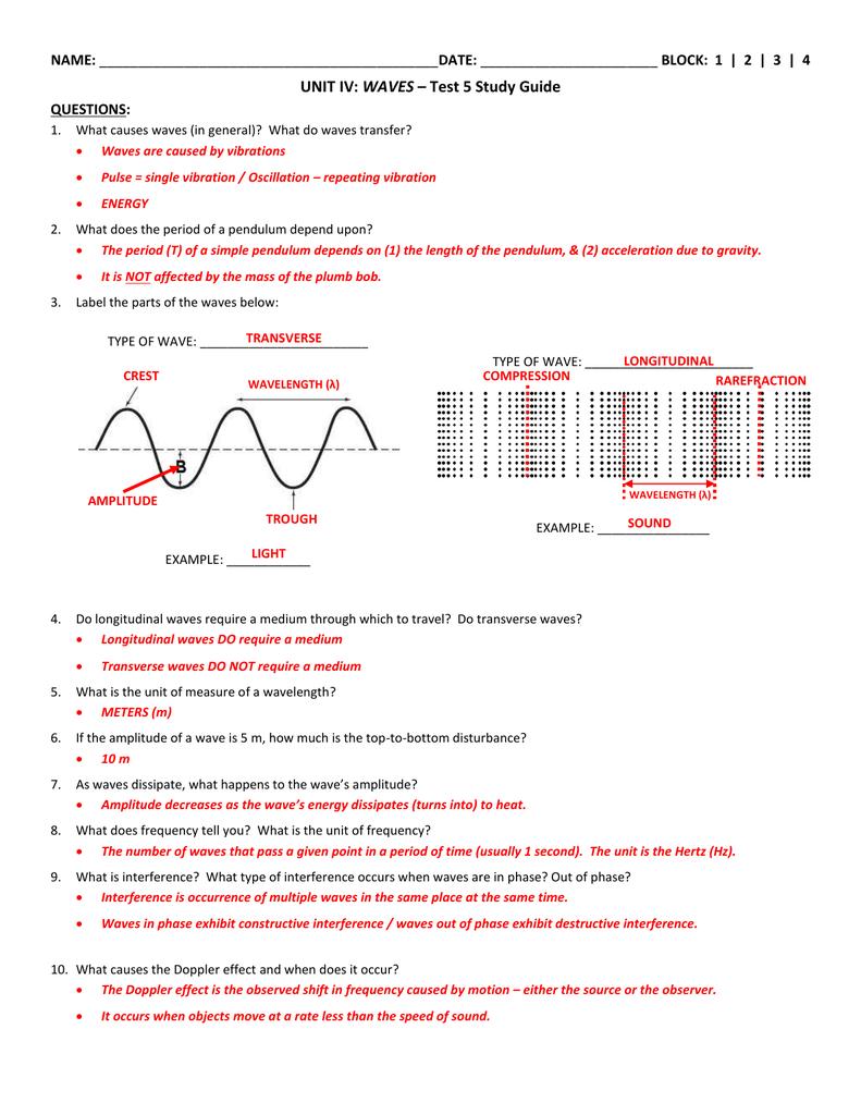 Waves Unit 2 Worksheet 5 / Science 10 Learner S Material ...