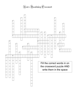 Unit 2 Vocabulary Crossword