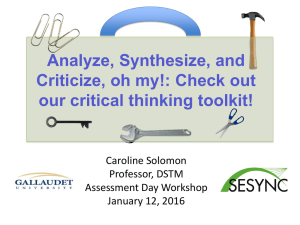 Analyze, Synthesize, and Criticize, oh my!: Check out our critical