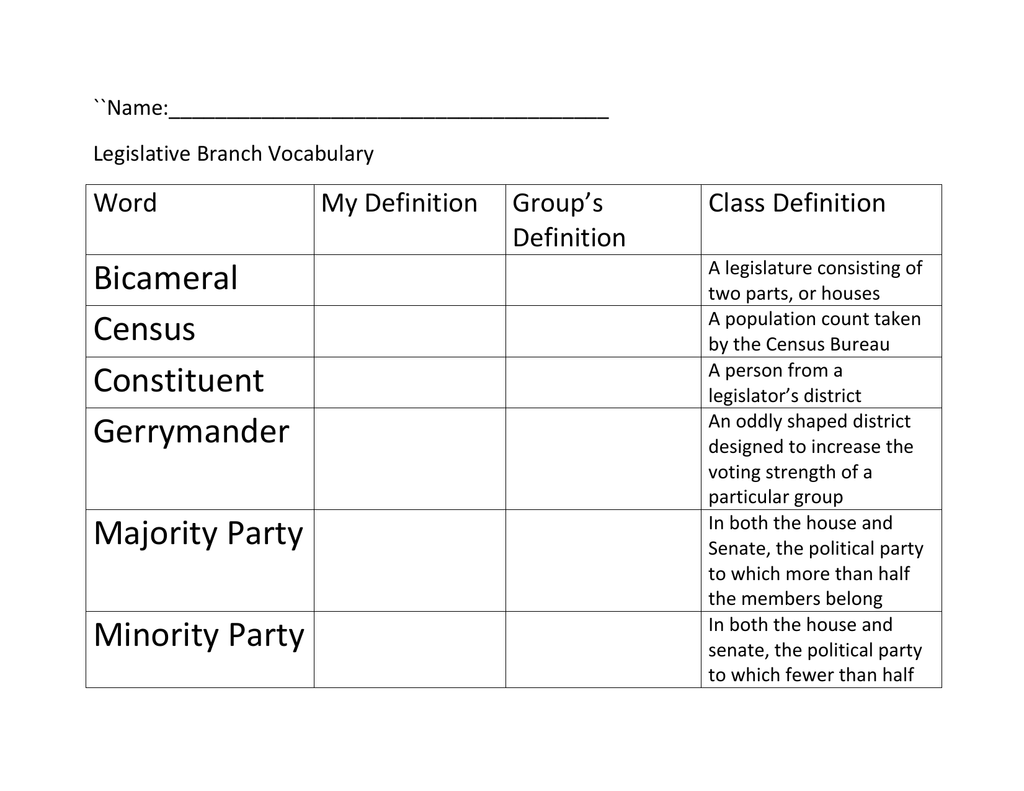 legislative branch vocabulary handout master