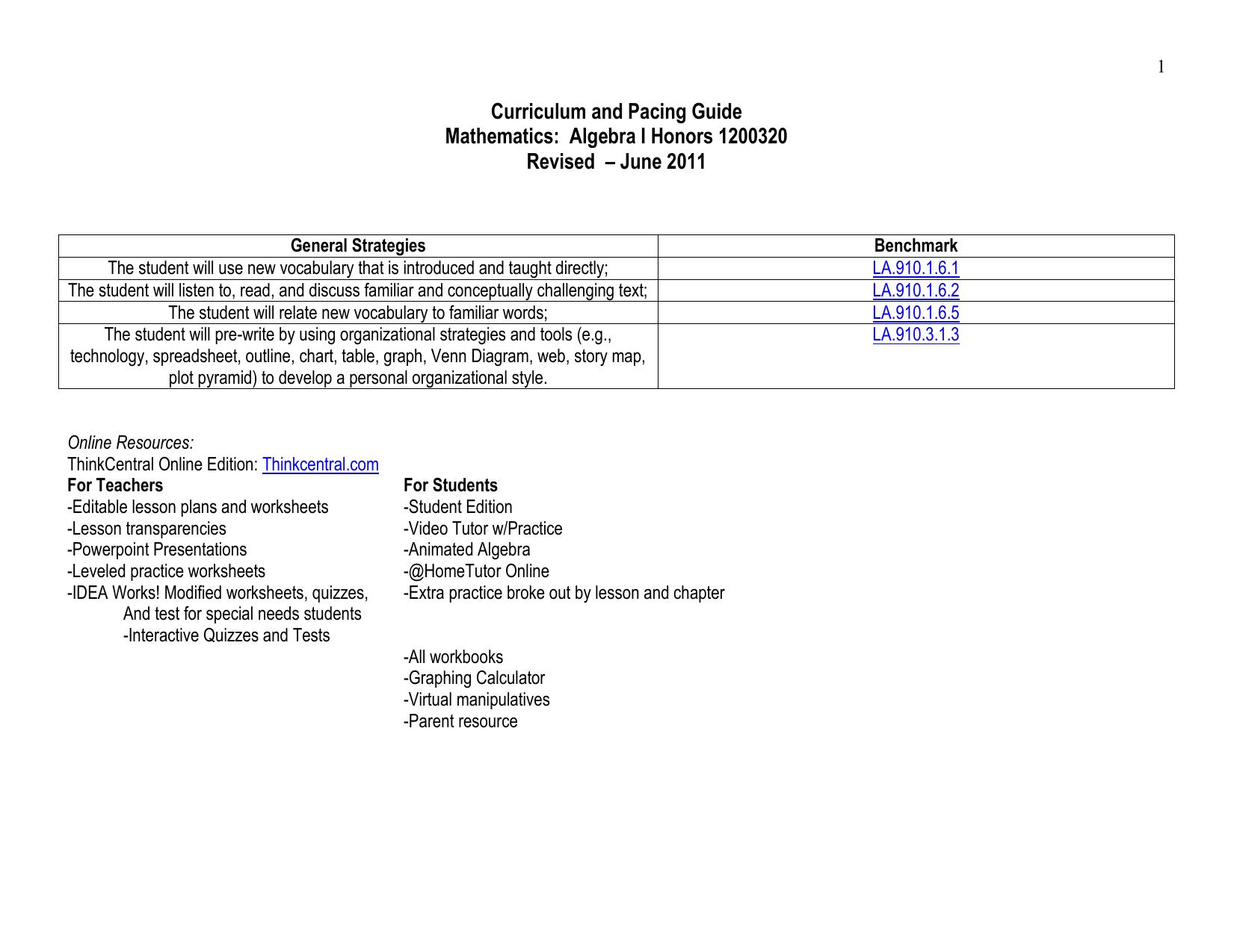 Course Overview Quarter 1
