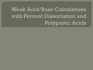 Weak Acid/Base Calculations with Percent Dissociation and