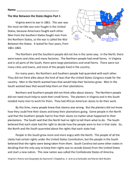 Name: The War Between the States Begins Part 1