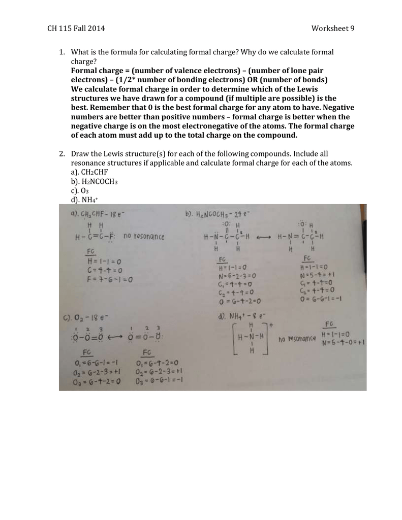 worksheet Formal Charge Worksheet ch 115 fall 2014worksheet 9 what is the formula for calculating