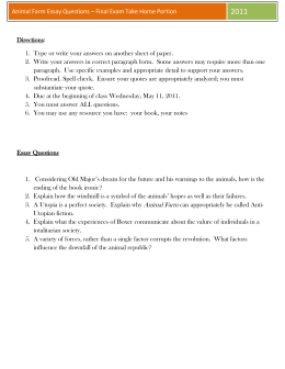 Animal Farm Essay Questions * Final Exam Take Home Portion