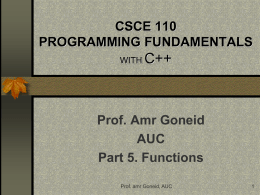 CSCI 110 STRUCTURED PROGRAMMING WITH C++