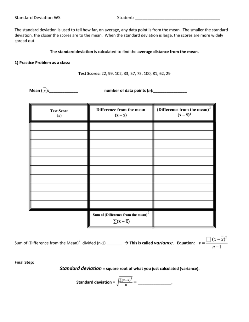 Worksheets Standard Deviation Worksheet calculating standard deviation worksheet