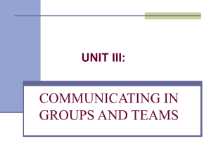 Communicating in Groups & Teams