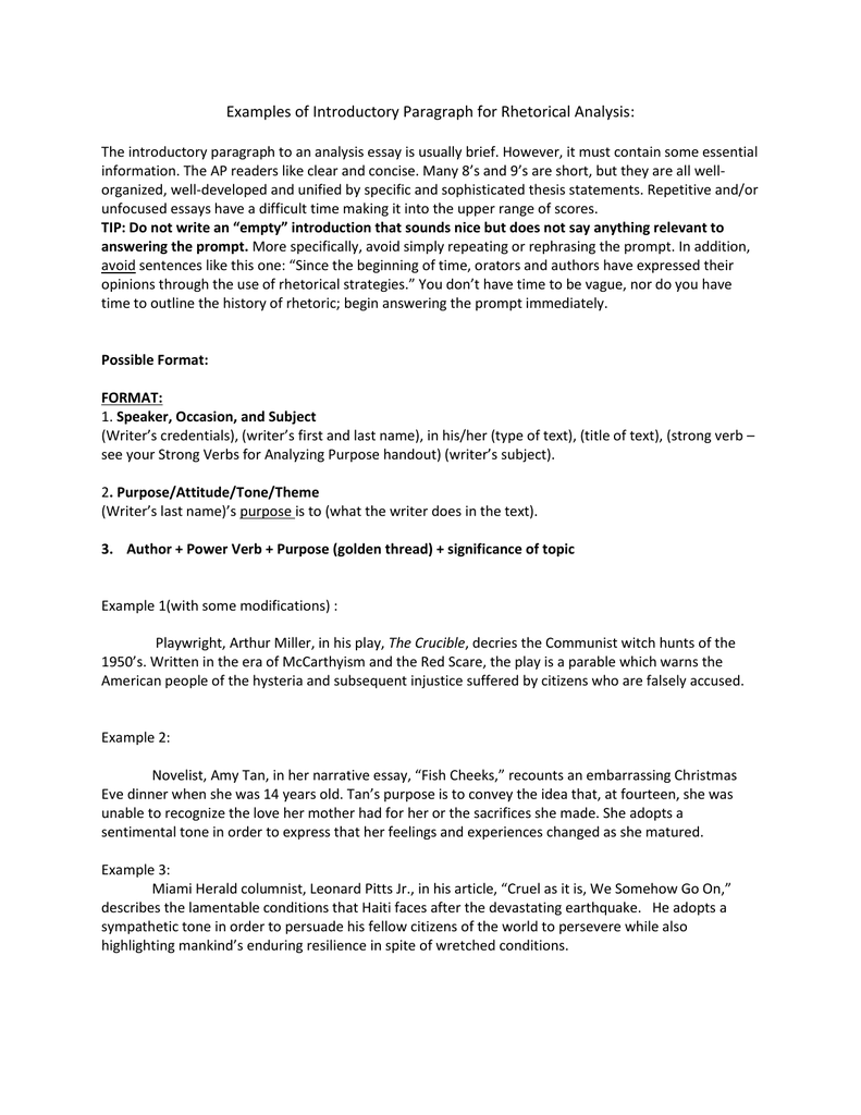 Examples Of Introductory Paragraph For Rhetorical Analysis The  Essay Thesis Statement Examples also Persuasive Essay Thesis  Essay About Healthy Lifestyle