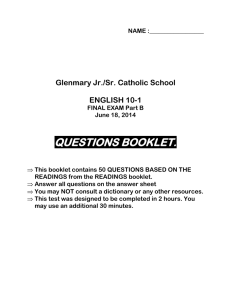 10-1 Final exam questions Glenmary Jan 14