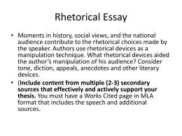 Rhetorical precis essay