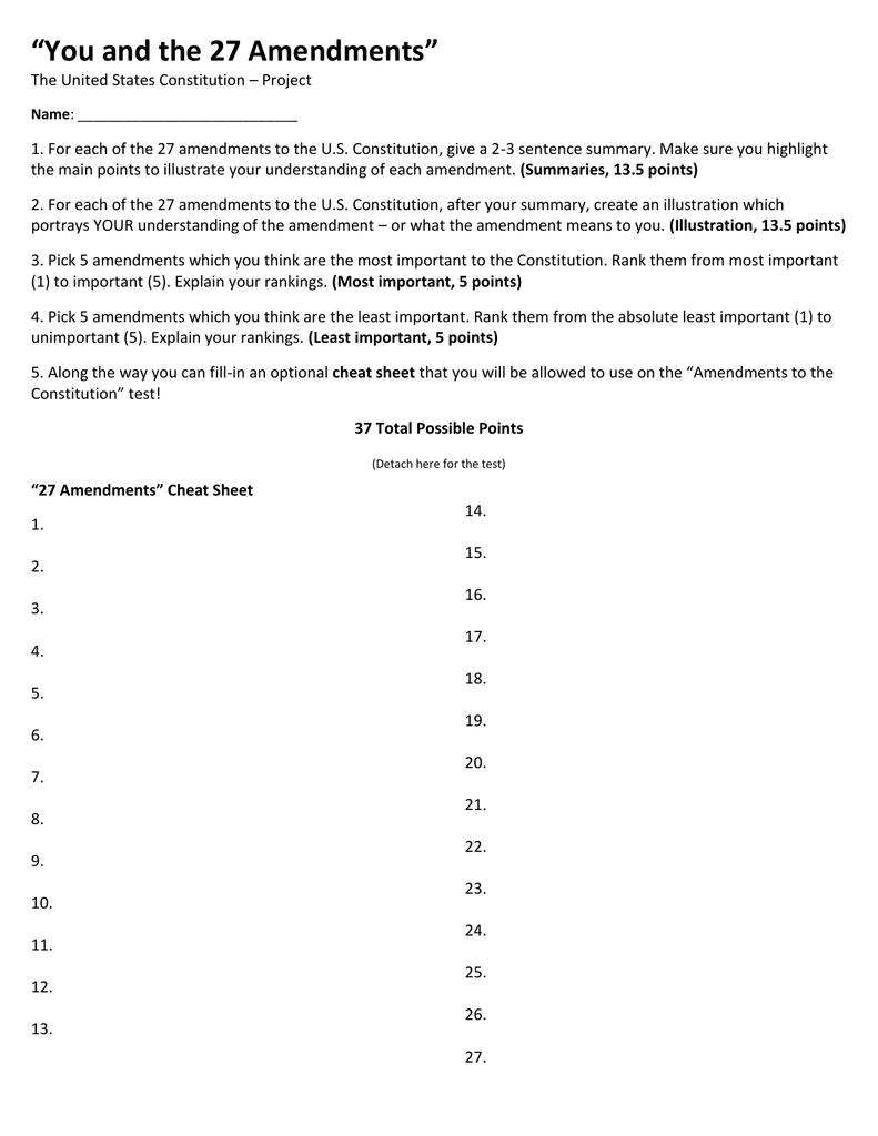 Constitutional amendments 1 27 summary