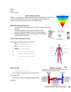 Name: Date: Class Period: The Circulatory System Lesson 2