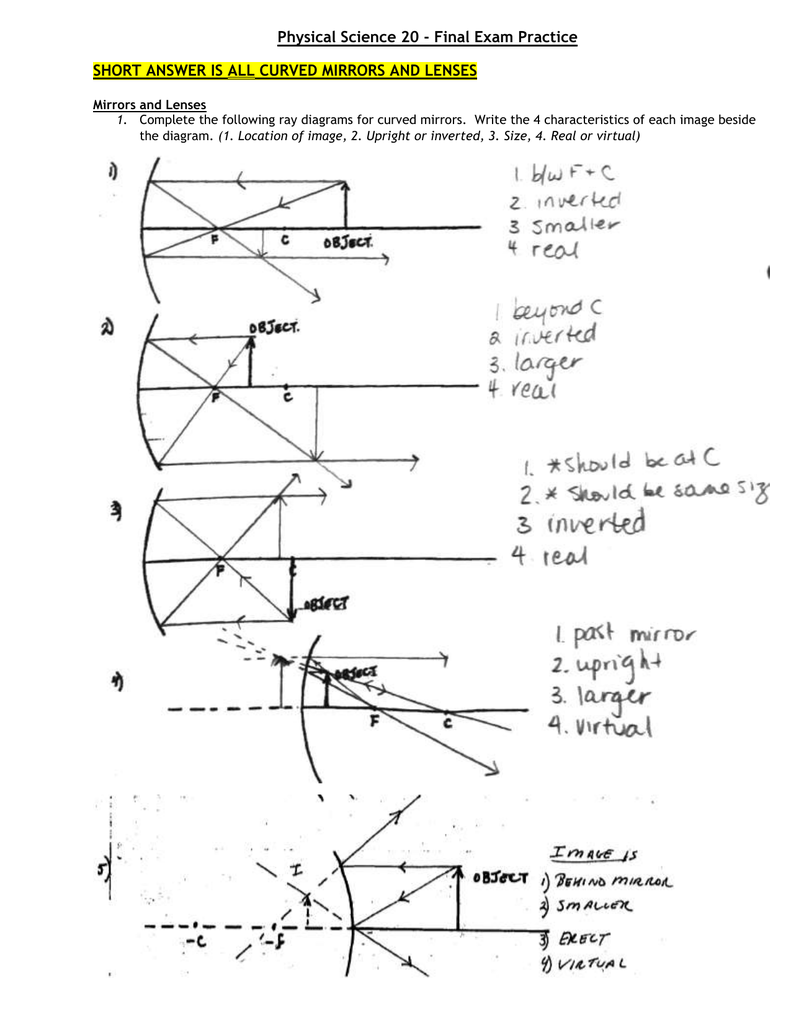 Physical Science 20 - Final Exam Practice SHORT ANSWER IS ALL