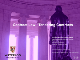 Tendering contracts - Electrical and Computer Engineering