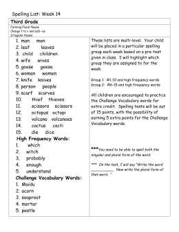 Challenge Vocabulary Words