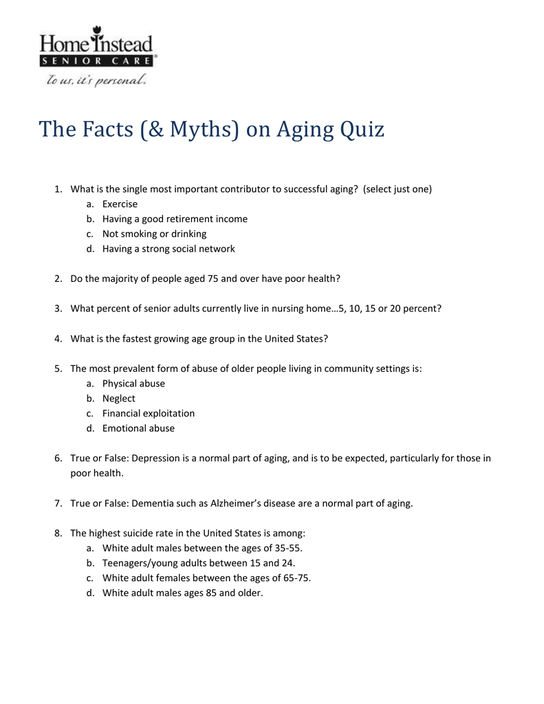 The Facts (& Myths) on Aging Quiz