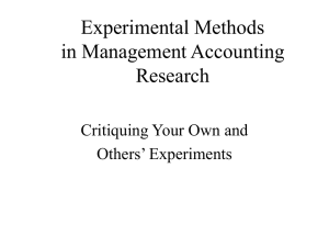 Experimental Methods in Management Accounting Research