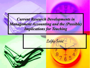 Current Research Developments in Management Accounting and the