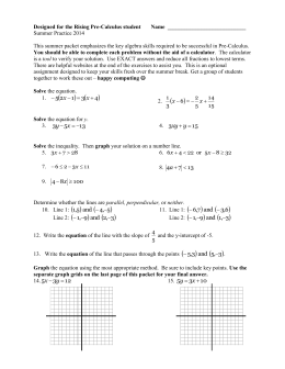 Precalculus Summer Packet
