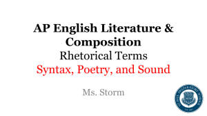 AP English Literature & Composition Rhetorical Terms Syntax