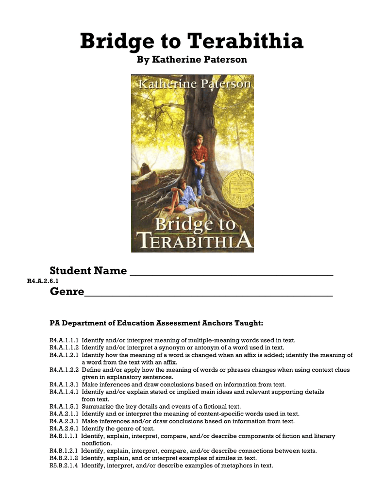 bridge to terabithia study notes Pair these bridge to terabithia anchor charts with sample constructive  below  you will find a couple anchor charts i created for my unit study along  students  complete the anchor chart by writing the details on sticky notes.