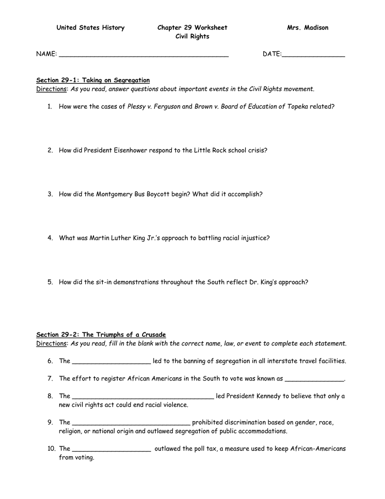 35 Civil Rights Movement Worksheet Answers - Worksheet ...