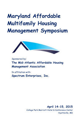 Maryland Affordable Multifamily Management Symposium