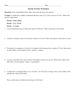 Density Practice Worksheet