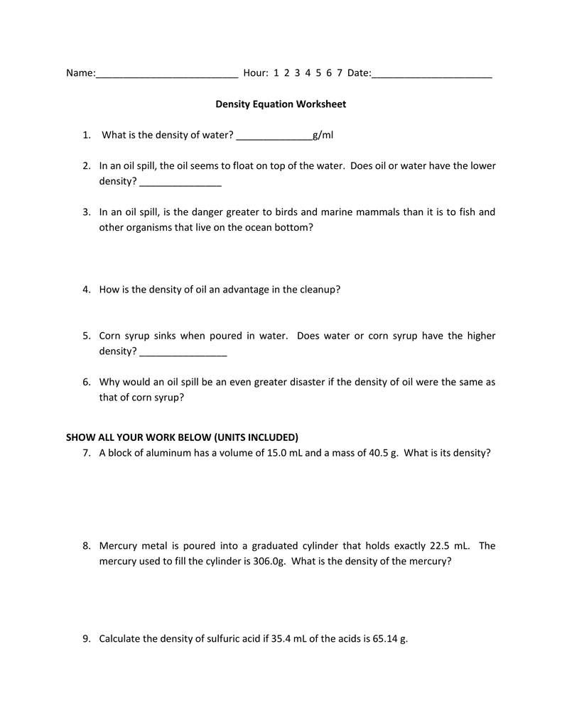 Name Hour 1 2 3 4 5 6 7 Date Density Equation Worksheet What Is