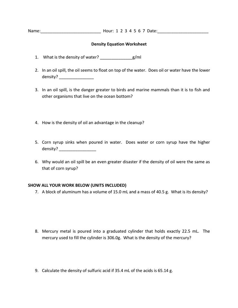 Free Worksheet Density Calculations Worksheet density calculations worksheet answers laveyla com name hour 1 2 3 4 5 6 7 date equation worksheet