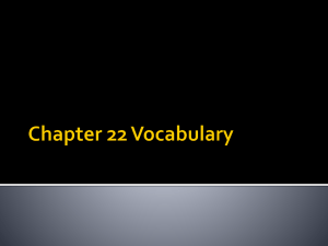 Chapter 22 Vocabulary Bellringer: 3/19/2014
