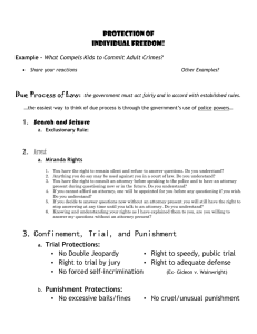 Protection of Indivudal Freedom & Miranda Rights Note Guide