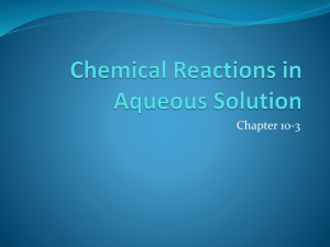 Chemical Reactions in Aqueous Solution