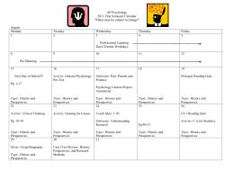 AP Psychology 2011 First Semester Calendar *Dates may be