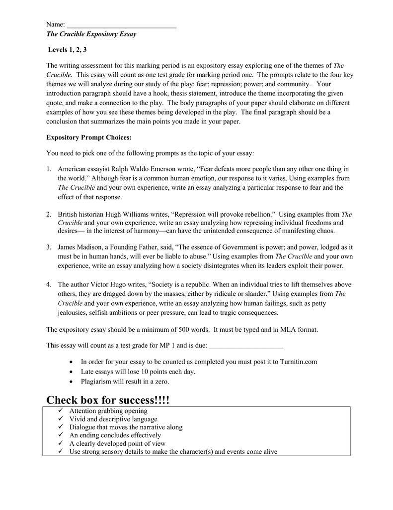crucible theme essay crucible theme essay template essays for the  crucible essay assignment