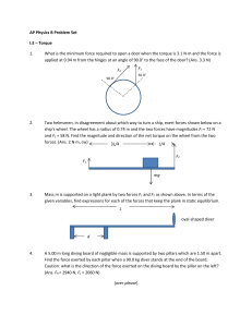 AP Physics B Problem Set I.E – Torque F2 F1 1. What is the