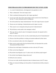 industrialization to progressivism test study guide